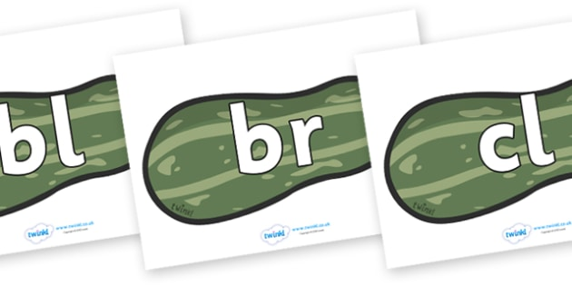 Initial Letter Blends on Marrows - Initial Letters, initial letter, letter blend, letter blends, consonant, consonants, digraph, trigraph, literacy, alphabet, letters, foundation stage literacy