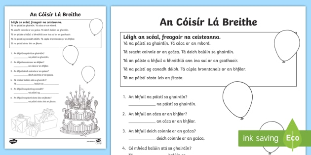 NEW The Birthday Party Reading Activity Gaeilge Birthday