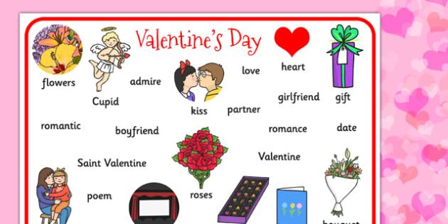 Valentines Day Word Mat - valentines, cupid, love, keywords, mat