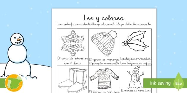 El invierno Ficha de leer y colorear - comprension lectora