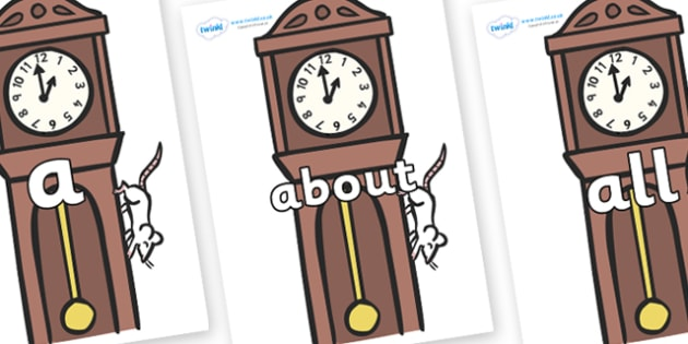 100 High Frequency Words on Clocks - High frequency words, hfw, DfES Letters and Sounds, Letters and Sounds, display words