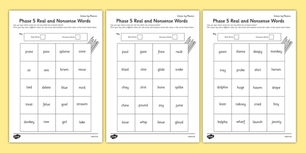 Phase 5 Colour by Phoneme Real and Nonsense Words Worksheet / Activity Sheet Pack - phase 5, colour, phoneme, real, nonsense, words, activity, worksheet