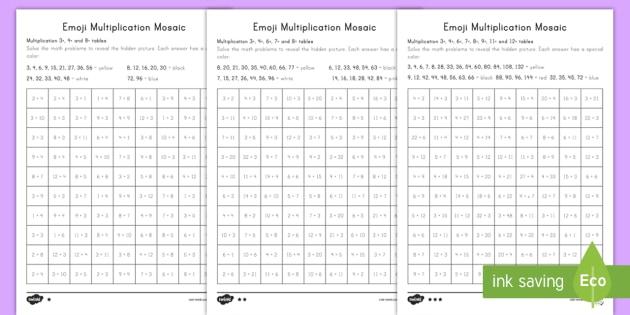 emoji multiplication mosaic differentiated worksheet activity. Black Bedroom Furniture Sets. Home Design Ideas