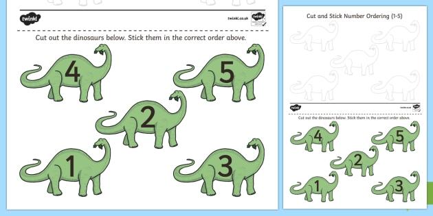 Dinosaur Themed Cut and Stick Number Ordering Activity 1 to 5 - ordering, number ordering, 1 to 5, dinosaurs eyfs, dinosaurs ks1