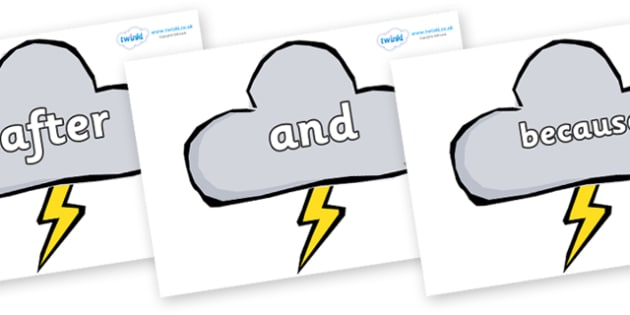 Connectives on Weather Symbols (Stormy) - Connectives, VCOP, connective resources, connectives display words, connective displays