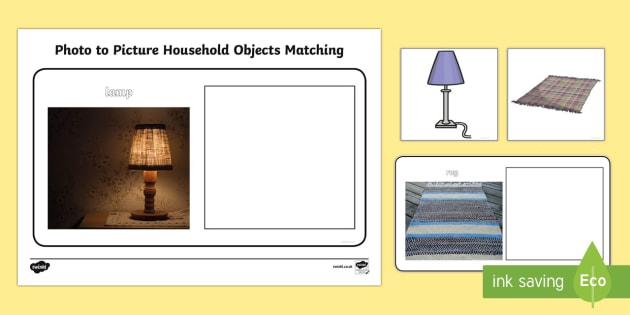 Workstation Pack: Photo to Picture Household Objects Activity Pack