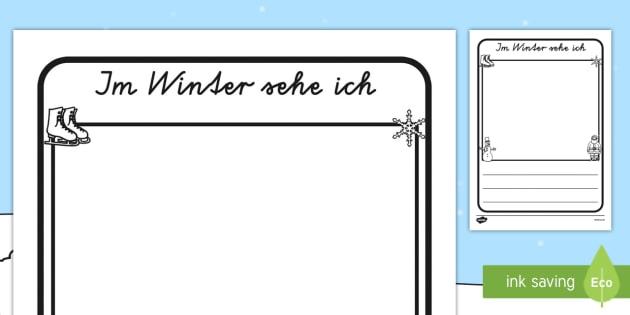 Im Winter sehe ich Arbeitsblatt - Winter, Arbeitsblatt, Deutsch, Jahreszeiten, German