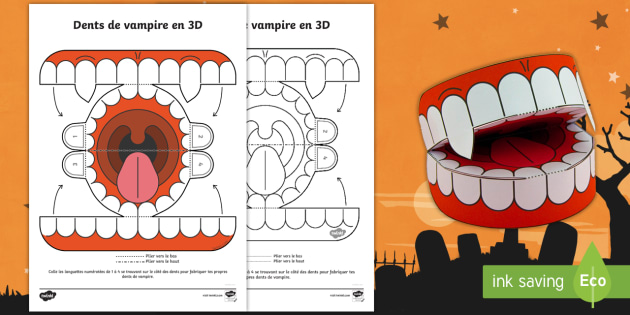 travaux manuels dents de vampire 3d pour halloween temps fort monstres. Black Bedroom Furniture Sets. Home Design Ideas