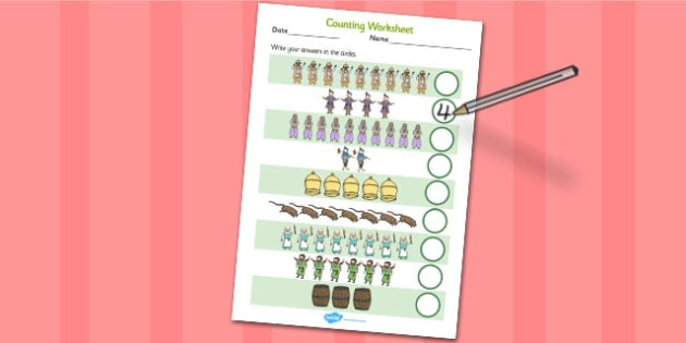Dick Whittington Counting Sheet - count, worksheet, traditional