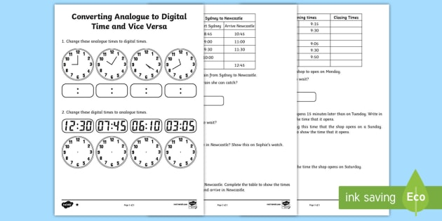 converting analogue to digital time and vice versa worksheet worksheet. Black Bedroom Furniture Sets. Home Design Ideas