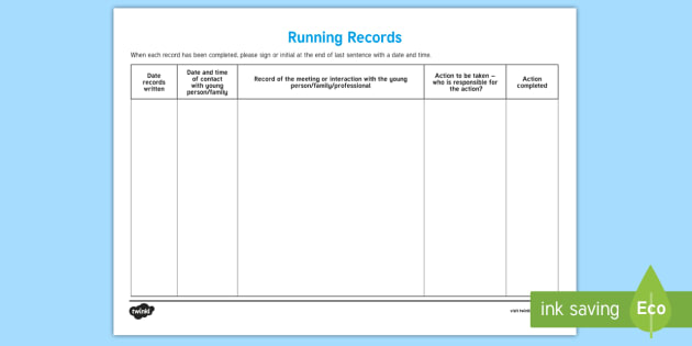 Running Records Young People Families Case File Recording Template