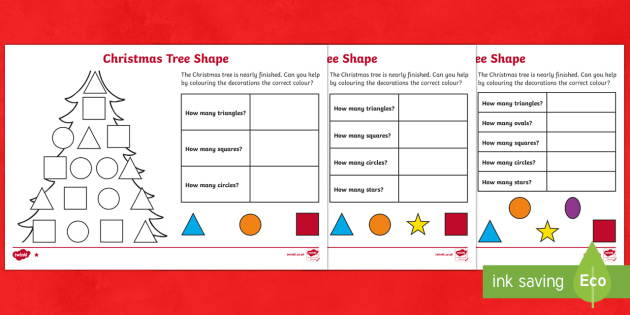 Christmas Tree Shapes Differentiated Counting Activity Sheet