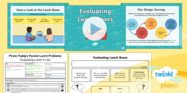 D&T: Pirate Paddy's Packed Lunch Problems: Evaluating Lunchboxes KS1 Lesson Pack 2