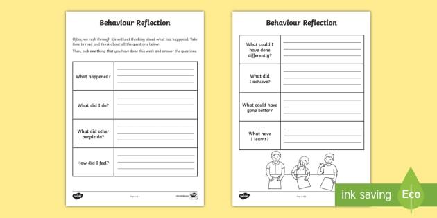 Behaviour Reflection Worksheet Activity Sheet Behaviour