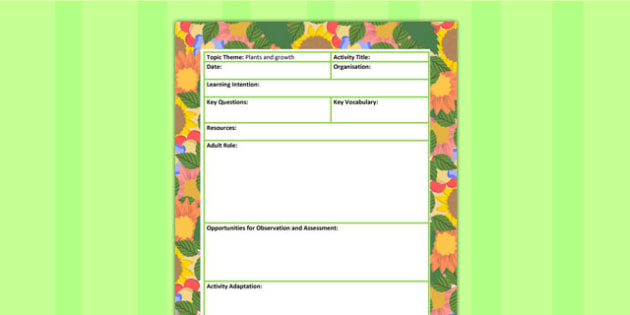 Plants and Growth Themed Adult Led Focus Planning Template