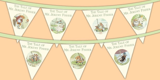 The Tale of Mr Jeremy Fisher Bunting - mr jeremy fisher, bunting, display, classroom, story, beatrix potter