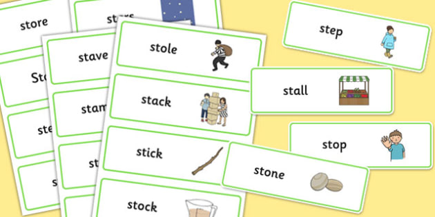 Initial 'st' Blend Word Cards - initial st, blend, word cards, cards