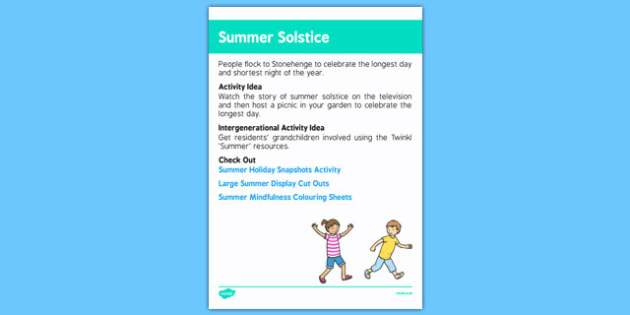 Elderly Care Calendar Planning June 2016 Summer Solstice - Elderly Care, Calendar Planning, Care Homes, Activity Co-ordinators, Support, June 2016