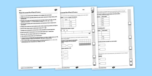 Year 5 Maths Assessment: Fractions Term 3 - year 5, maths, assessment, number, fractions