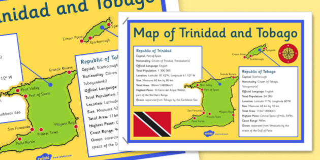Trinidad and Tobago Map Poster - trinidad, tobago, map, poster, display