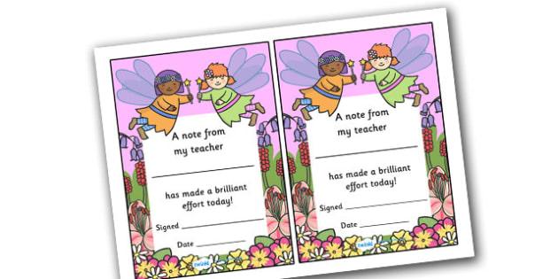 Note From Teacher Brilliant Effort (Fairy Themed) - note from teacher brilliant effort, brilliant effort, note from teacher, notes, praise, comment, note, teacher, teacher's, parents, brilliant, effort, good effort, fairy themed, fairy, themed