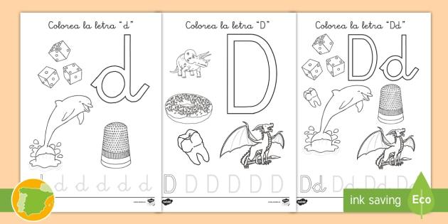 NEW * Hoja de colorear: La letra d - vocabulario, palabras