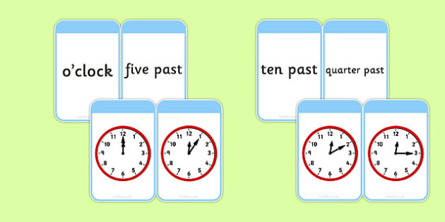 Telling The Time Matching Flashcards Time Matching
