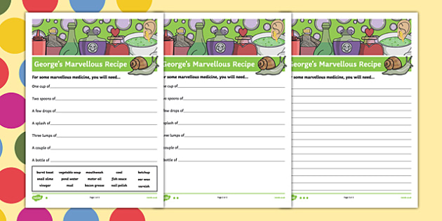 George's Marvellous Recipe Differentiated Activity Sheet Pack, worksheet