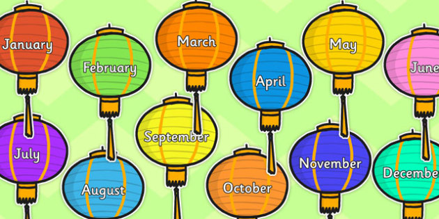 Months of year on Chinese Lanterns - chinese lanterns, months, year