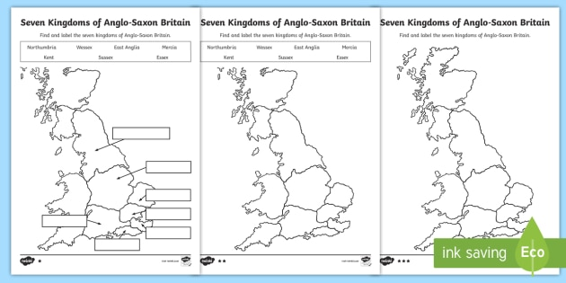 Anglo Saxon Map Of England.New Seven Kingdoms Of Anglo Saxon Britain Differentiated Worksheets