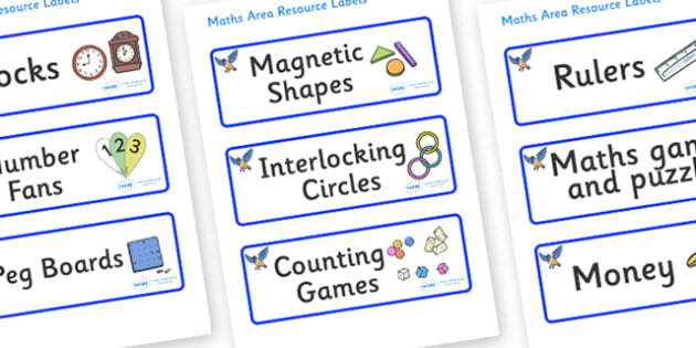 Starling Themed Editable Maths Area Resource Labels - Themed maths resource labels, maths area resources, Label template, Resource Label, Name Labels, Editable Labels, Drawer Labels, KS1 Labels, Foundation Labels, Foundation Stage Labels, Teaching La