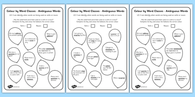 Year 3 and 4 Colour by Word Class Sentences - class, colour