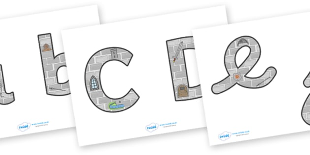 Castles & Knights Display Lettering & Symbols (Images) - Display lettering, Castles, Knights, display letters, alphabet display, letters to cut out, letters for displays, coloured letters, coloured display, coloured alphabet