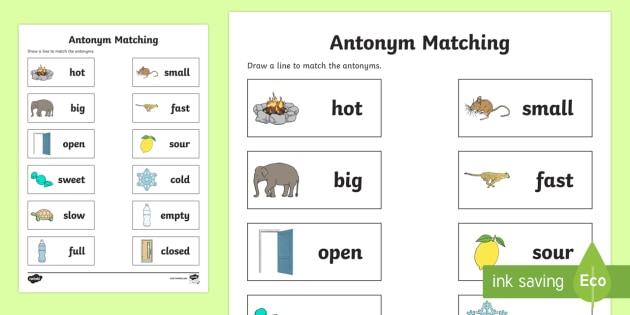 Antonym Matching Worksheet / Worksheet - australia, english ...
