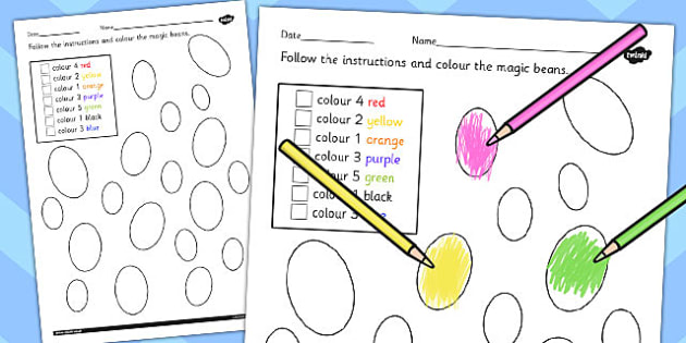 Jack and Beanstalk Bean Counting Instructions Colouring Sheet