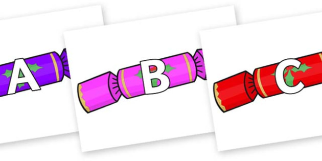 A-Z Alphabet on Multicoloured Crackers - A-Z, A4, display, Alphabet frieze, Display letters, Letter posters, A-Z letters, Alphabet flashcards