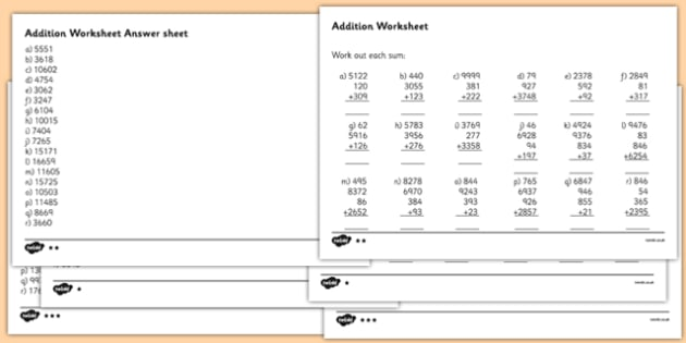 Large Numbers Addition Worksheet - large numbers addition worksheets ...