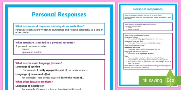 What is a Personal Response? A4 Display Poster - Literacy, What is a Personal Response?  A4 Display Poster, personal review, persuasive, informative,