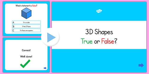3D Shapes True or False PowerPoint Quiz - 3D shape, shape, quiz