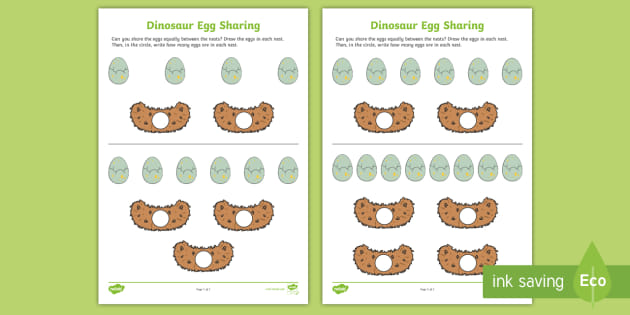 new dinosaur egg sharing worksheet. Black Bedroom Furniture Sets. Home Design Ideas