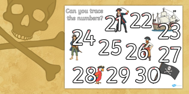 Pirate Themed Number Formation 21-30 Worksheet / Activity Sheet - pirate, number formation, 21-30, activity, worksheet, overwriting
