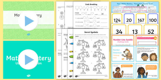 Year 2 Maths Mastery Place Value  Activity Pack - Year 2, Maths Mastery, Place Value, digit, number, one digit, two digit, three, digit, equals, deepe