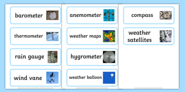 Weather Instrument Word Cards Weather Instruments Weather