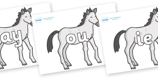 Phase 5 Phonemes on Ponies - Phonemes, phoneme, Phase 5, Phase five, Foundation, Literacy, Letters and Sounds, DfES, display