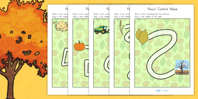 Autumn Themed Pencil Control Maze Worksheets - fine motor skills