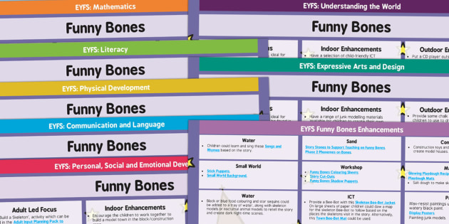 EYFS Lesson Plan and Enhancement Ideas to Support Teaching on Funnybones - planning, Early Years, continuous provision, early years planning, adult led, Funnybones, Funny Bones, Janet and Allan Ahlberg, skeletons, Halloween