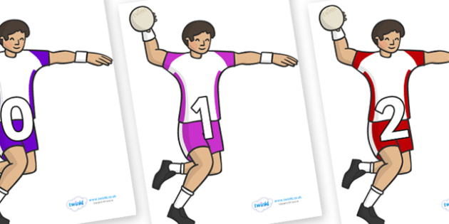 Numbers 0-100 on Handball Players - 0-100, foundation stage numeracy, Number recognition, Number flashcards, counting, number frieze, Display numbers, number posters