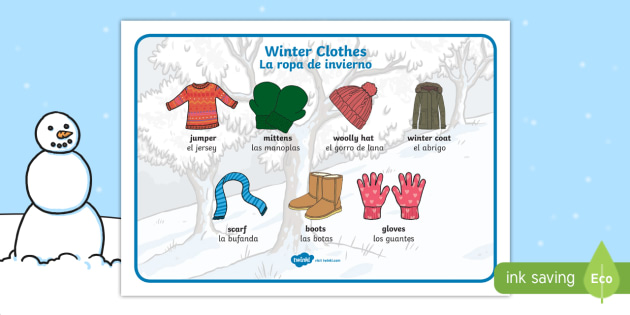 Winter Clothes Word Mat - English / Spanish - Winter Clothes Word Mat - winter clothes, word mat, winter, clothes,wnter, wintre, wordmat, EAL,Span
