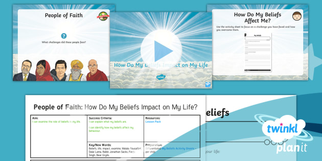 RE: People of Faith: How Do My Beliefs Impact on My Life? Year 4 Lesson Pack 6