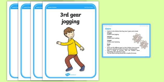 Foundation PE (Reception) Gears Cool-Down Activity Card - physical activity, foundation stage, physical development, games, dance, gymnastics